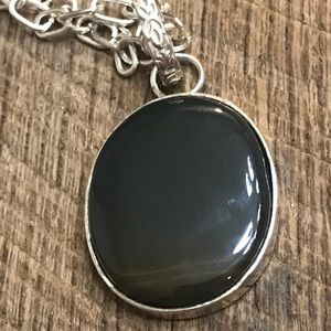925 Sterling Silver Necklace w/ Black/Brown Stone